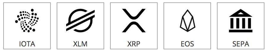 IOTA, XRP (Ripple), XLM (Stellar), EOS, SEPA